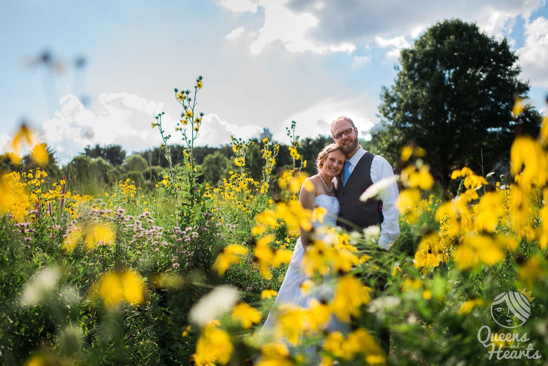 bride and groom wedding portrait in Aldo Leopold Nature Center Monona WI