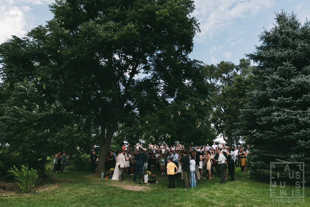 outdoor wedding ceremony in rural Wisconsin outside of Madison