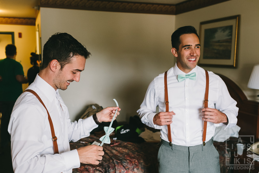 groomsmen are getting ready Country Inn & suites by Carlson hotel in Prairie du Chien, WI