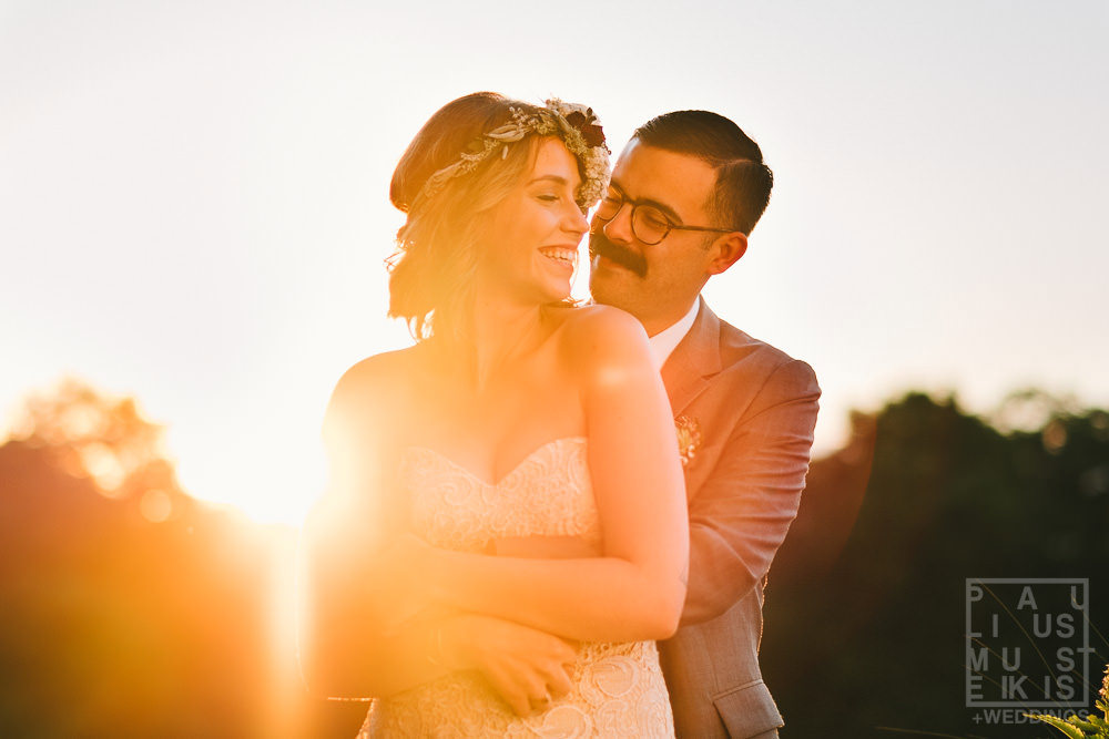bride and groom portrait on at the Gatherings on the Ridge barn during golden hour