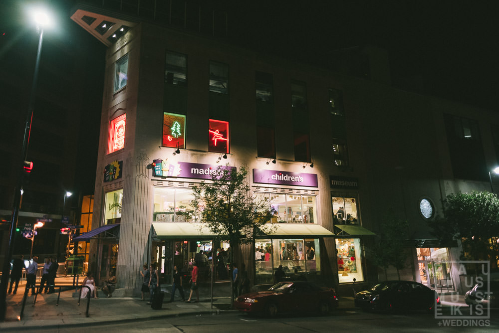 outside view of the Madison Children's museum building at night time