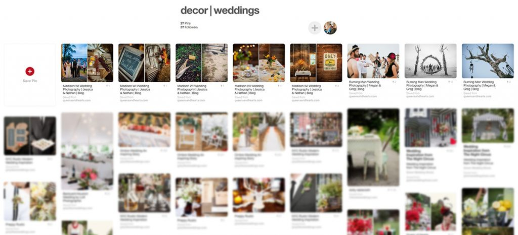 screen shot of Pinterest inspiration boards with wedding decorations serves as an example of wedding planning tips
