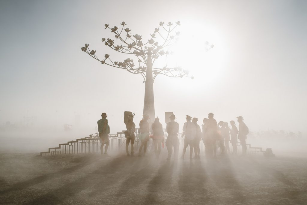 dust whiteout during Sandi and Andy Burning Man wedding ceremony in Black Rock desert