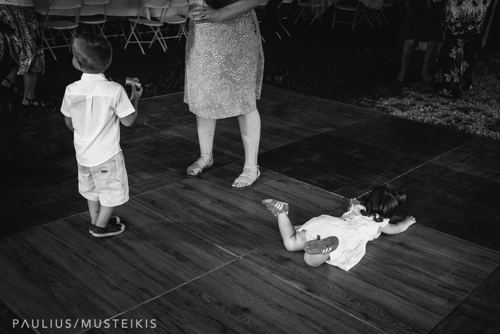 kids on the dance floor at the Wisconsin family farm wedding reception