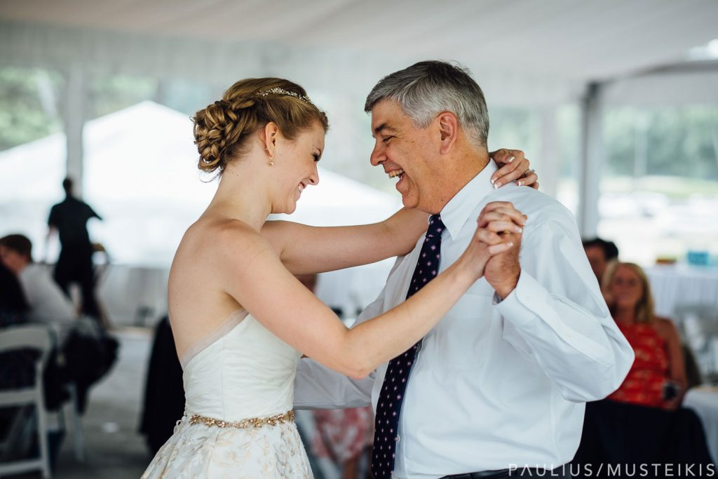 bride with her father dancing at the Bishop's bay tent wedding reception