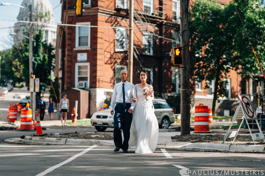 bride and father of the bride are walking to the James Madison park wedding ceremony