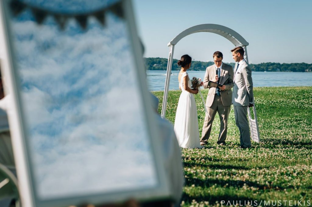James Madison park wedding ceremony with lake Mendota in the background