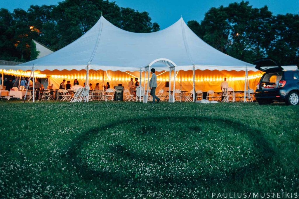 wedding tent in James Madison park during the sunset