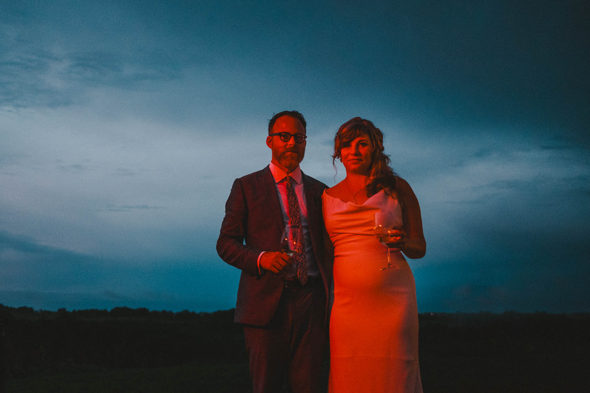Bride and groom portrait in Prevailing Winds lodge