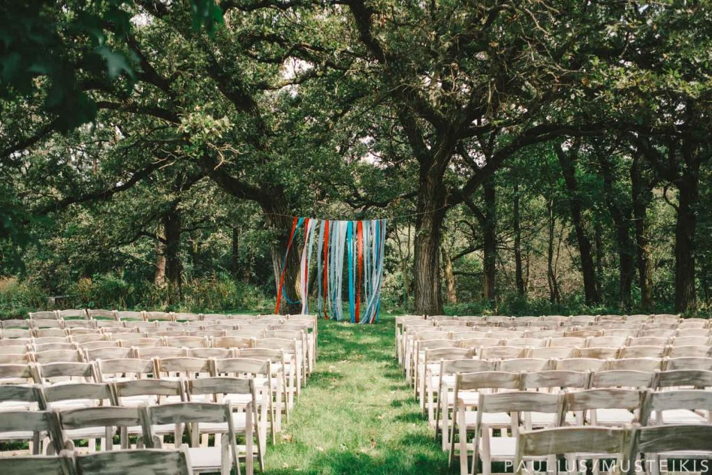 Wedding ceremony spot under the oak trees
