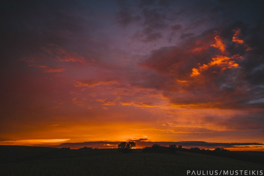 orange sunset skies in prairie near Blue Mounds, Wisconsin