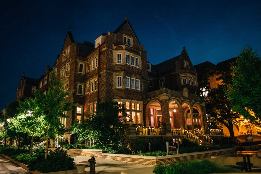 night time exterior picture of University Club in Madison, Wisconsin