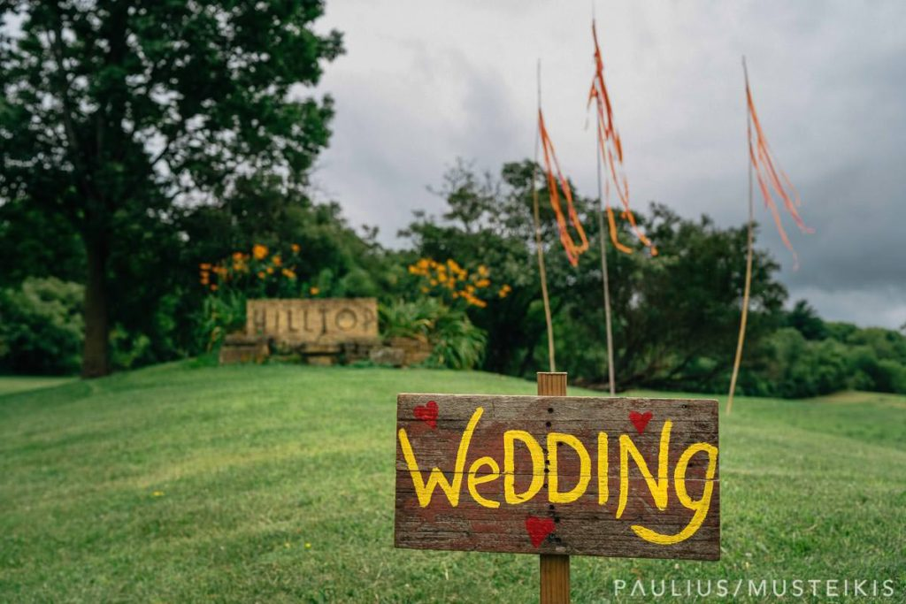 wedding sign the entrance to Hilltop, Spring Green