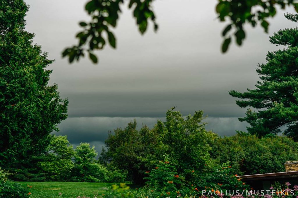 rainy wedding day at the Hilltop venue in Spring Green, Wisconsin
