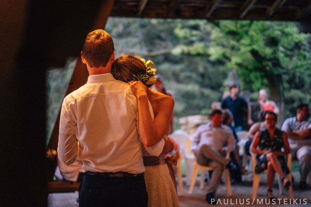 bride and groom dancing at their wedding in Hilltop wedding venue in Spring Green, Wisconsin